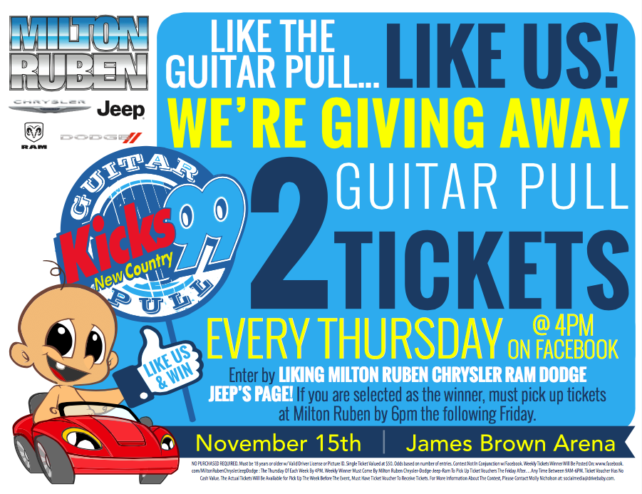 Milton Ruben Dodge >> We want to send you to the Kicks 99 Guitar Pull! | #LoveAugusta